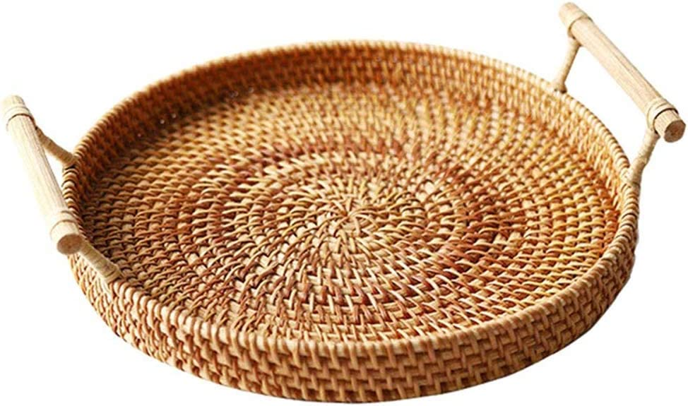 WOSHI Rattan Storage Tray Round Basket 3 Size Fruit Food Breakfast Display Hand-Woven Rattan Tray Round Basket Wicker Basket Storage Tray with Handle(S)