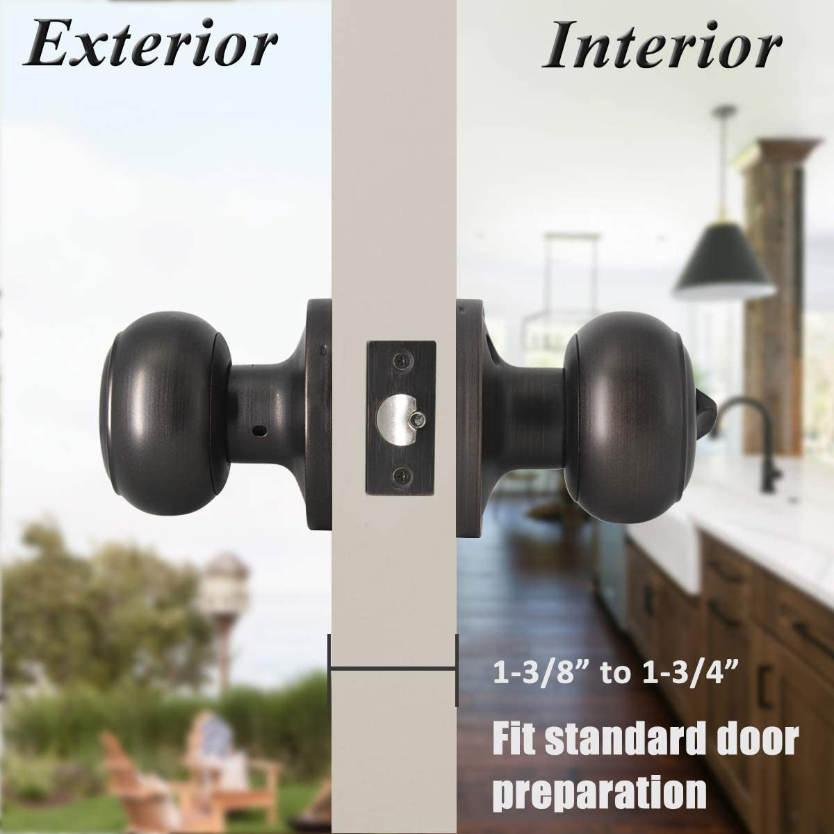 Probrico Black Flat Ball Single Dummy Door Knobs Left Right Handed Door Knobs Handle 1 Pack