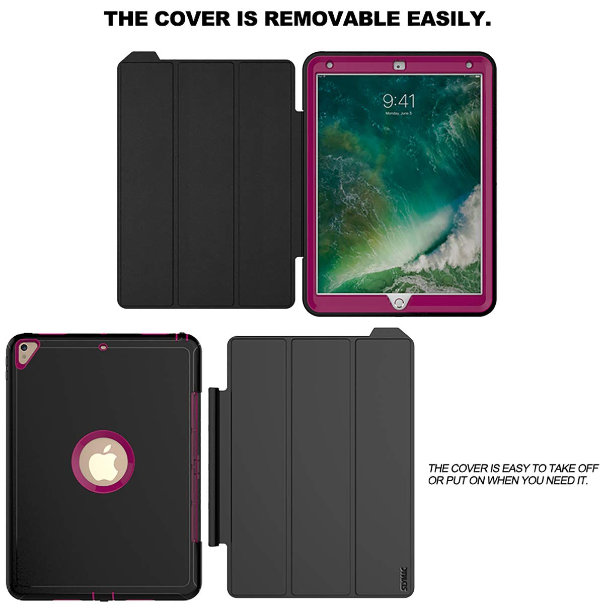 SEYMAC iPad Pro 10.5 Case, Three Layer Drop Protection Rugged Protective Heavy Duty Folio Stand Case with Magnetic Smart Auto Wake/Sleep Cover Compatible with iPad Pro 10.5 [A1701, A1709]-Black/Rose