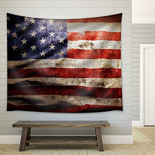 Closeup of Grunge American Flag Fabric Wall