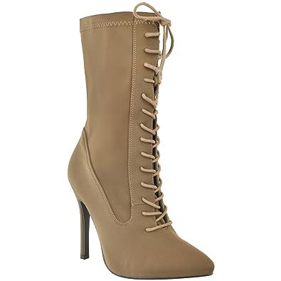 8610692d3830 Damen Stiefeletten mit Schnürung - hoher Stiletto-Absatz - Strech-Material  - Mokka-