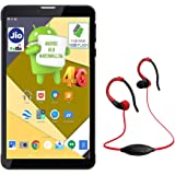 IKALL N4 8GB Dual Sim 4G Calling Tablet with Neckband -Black