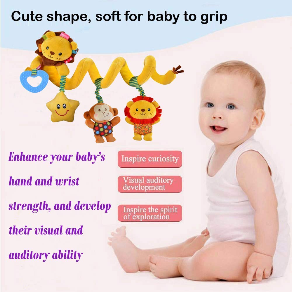 xinglong Hanging Car Seat Toys with Musical Star Rattle Monkey Beep Lion Infant Baby Activity Plush Toys for Crib Mobile Stroller Bar Car Seat Mobile