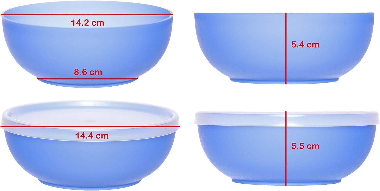tazones Colorido Cubierta Reutilizable apilable idea-station Neo Cuencos plastico 6 Piezas 12 cm Bebe Redonda Duro Bol Aperitivos Cuenco Bowl contenedores 350 ml cucina