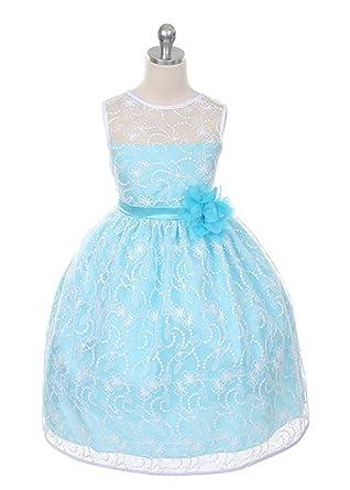 Kids Dream Girls Lace Elegant Girl Dress-whtaqua-2