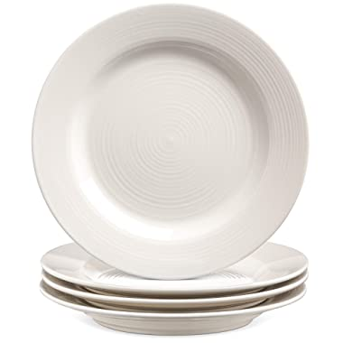 Le Tauci 4 Piece 8 Inch Ceramic Salad Plate Set, White