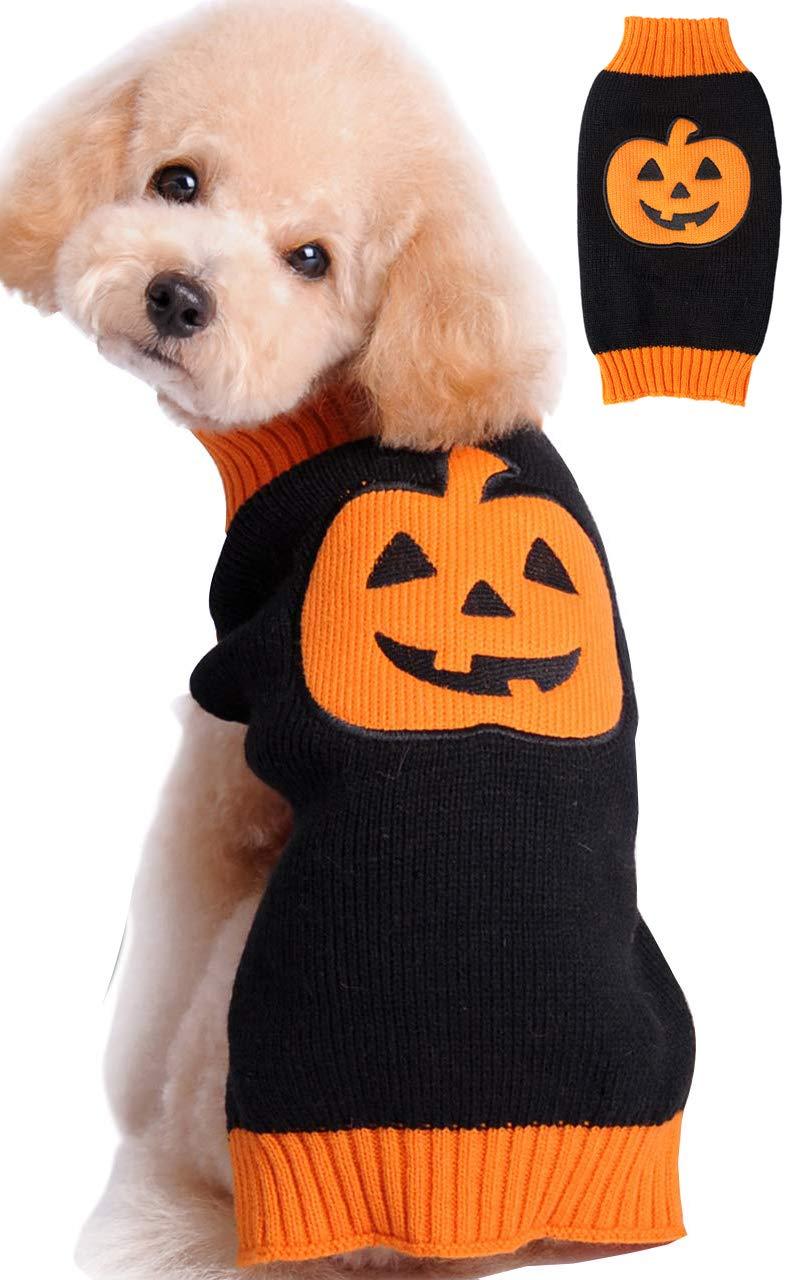 BOBIBI Pet Clothes The Halloween Pumpkin Cat Dog Sweater, Dog Knitwear, Dog Apparel, Pet Sweatshirt Pet Sweatshirt Large