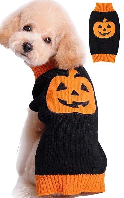 Bobibi Pet Clothes The Halloween Pumpkin Cat Dog Sweater Dog Knitwear Dog Apparel