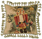 Williamsburg Antique Style Victorian Traditional Old Fashioned Steinbach Byers Choice Nutcracker Handmade Christmas Holiday Needlepoint Petitpoint Decorative Throw Pillow. 20'' x 20''.