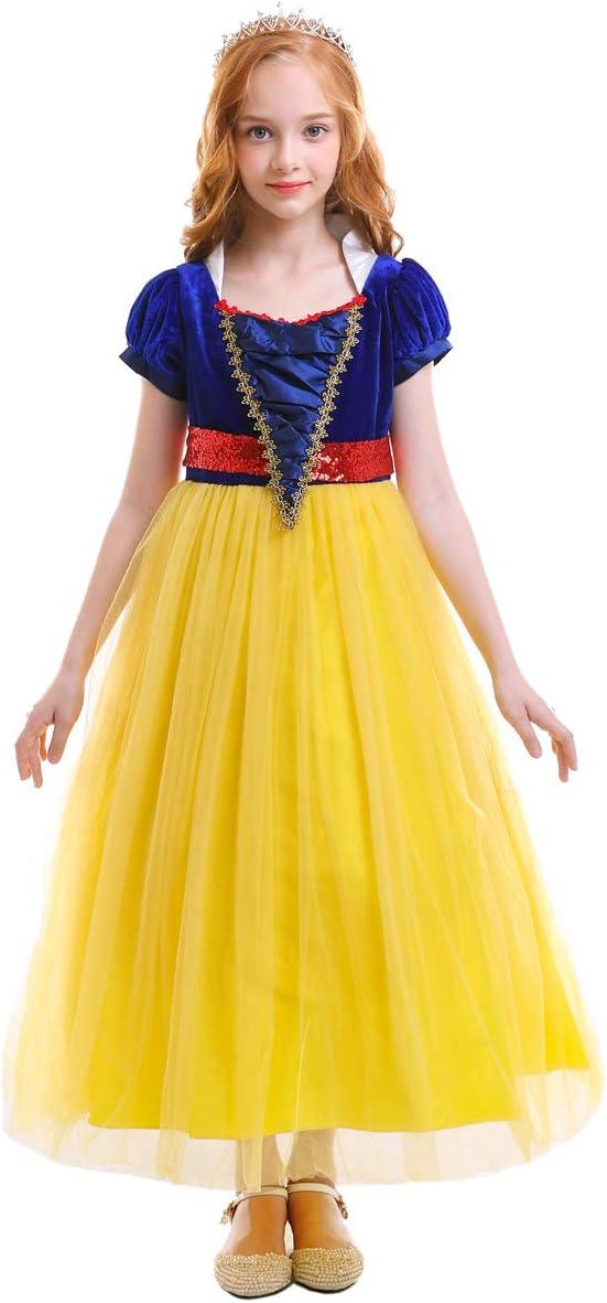 OBEEII Girls' Snow White Princess Costume Cartoon Fancy Dress Up Party Cosplay Halloween Dance Floor Length Tutu Evening Gowns Yellow 5-6 Years