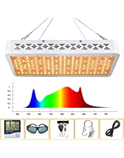 LED Grow Light 1000W Full Spectrum Sunlight 3500K White and Red 660nm Added Grow Lights for Indoor Plants, Better for Full Growth Flowering Fruiting VEG Seedling with Thermometer Hygrometer and Protective Glasses