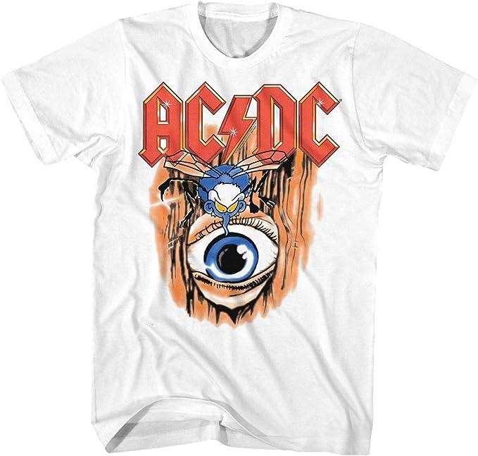 ACDC Heavy Metal Rock Band Vintage Fly On Eye Camiseta blanca para adulto: Amazon.es: Ropa y accesorios