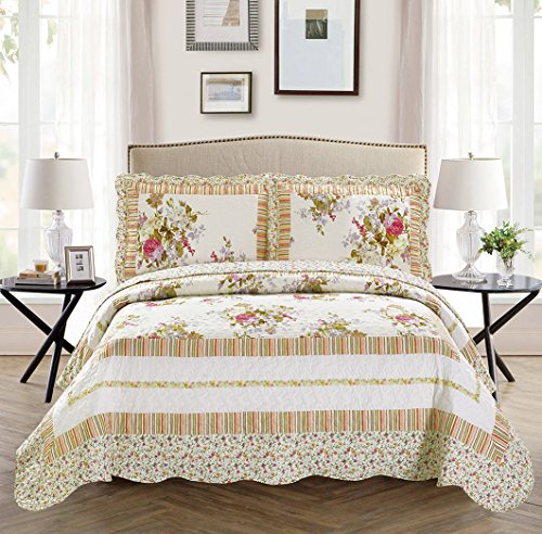 Fancy Collection 3pc Bedspread Bed Cover Floral Off White Green Purple Green Pink (Queen)
