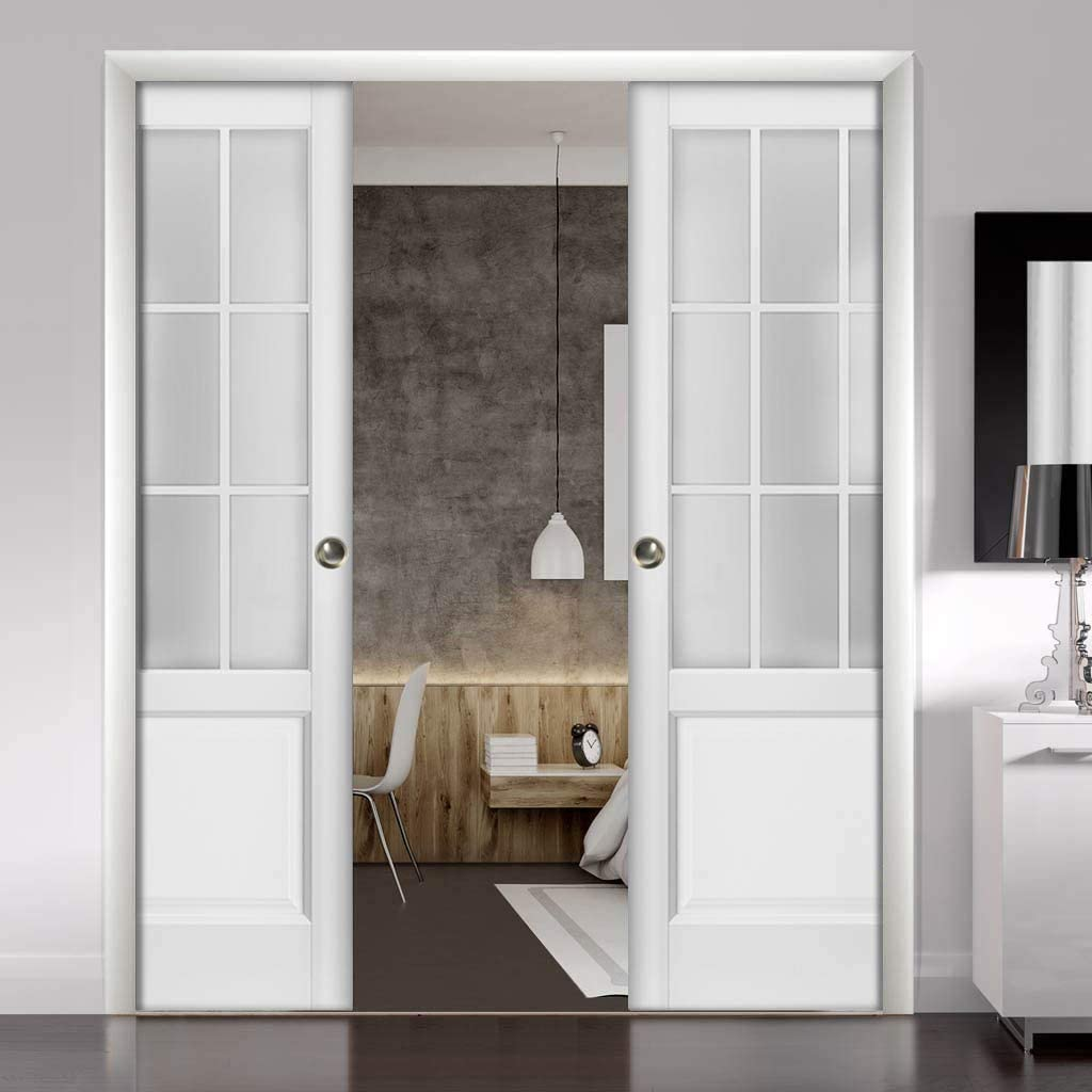 Kit Trims Rail Hardware Felicia 3309 Matte White Solid Wood Interior Bedroom Sturdy Doors Sliding French Double Pocket Doors 48 x 80 inches Frosted Glass 9 Lites