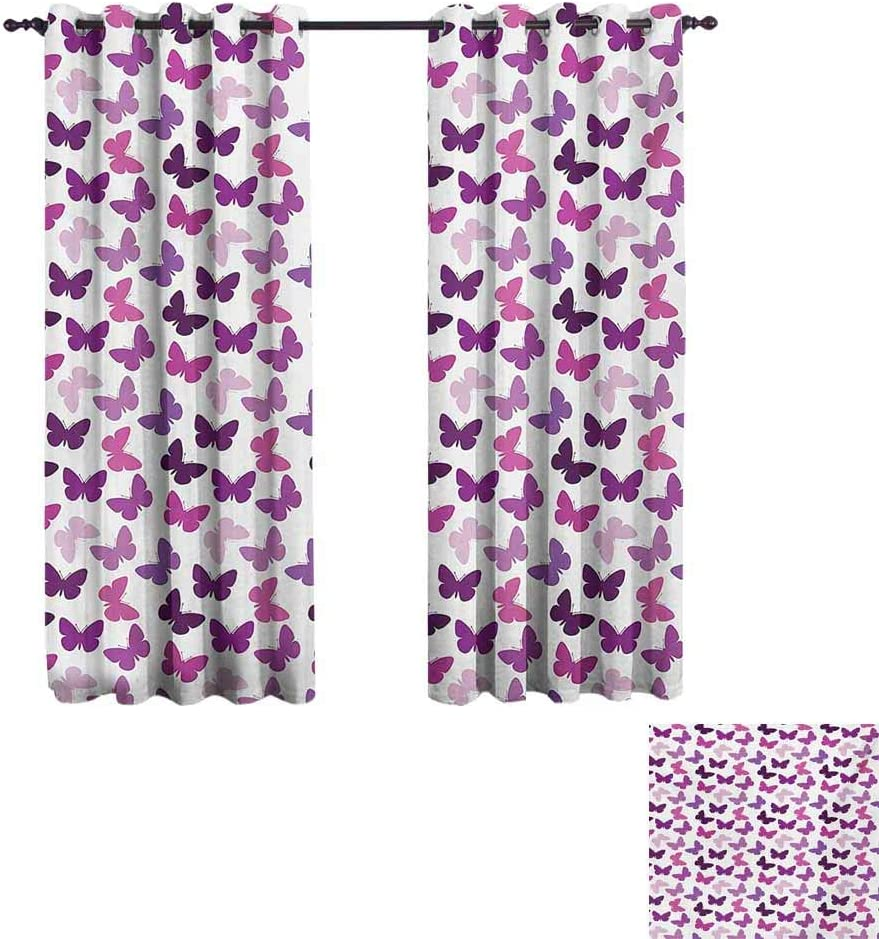 Butterfly Bedroom Blackout Curtain Panels 55x39 INCH Abstract Retro Butterfly Silhouettes Floral Springtime Girls Theme Image Hipster Patterned Pink Purple Lilac