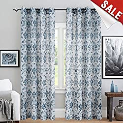 """jinchan Medallion Linen Curtains for Living Room Curtain Panels Flax Retro Print Linen Blend Damask Curtains for Bedroom Window Panels 95"""" Blue Drapes 1 Pair"""