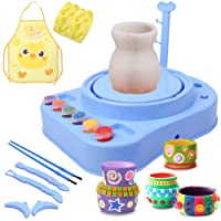 IAMGlobal Pottery Wheel, Pottery Studio with Apron, Artist Studio with Stickers, Ceramic Machine with Clay, Educational Toy for Kids Beginners (Blue)