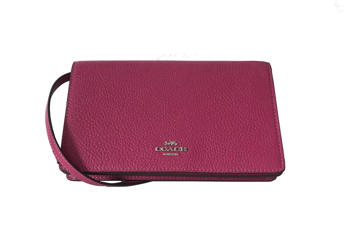 Coach Foldover Clutch Wallet Pebbled Leather Crossbody Bag (Cerise) by Coach (Image #2)