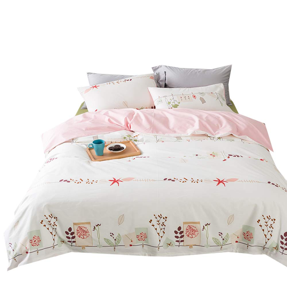 VClife Twin Floral Bedding Sets Cotton Duvet Cover Sets with Zipper Closure, Pink Creamy White Floral Flower Branches Design Reversible, Hotel Quality Bedding Collection for All Seasons, 68'' x 86''