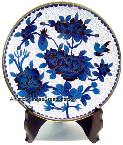 Chinese Art / Chinese Collectibles: Chinese Cloisonne Plate - Peony & Birds