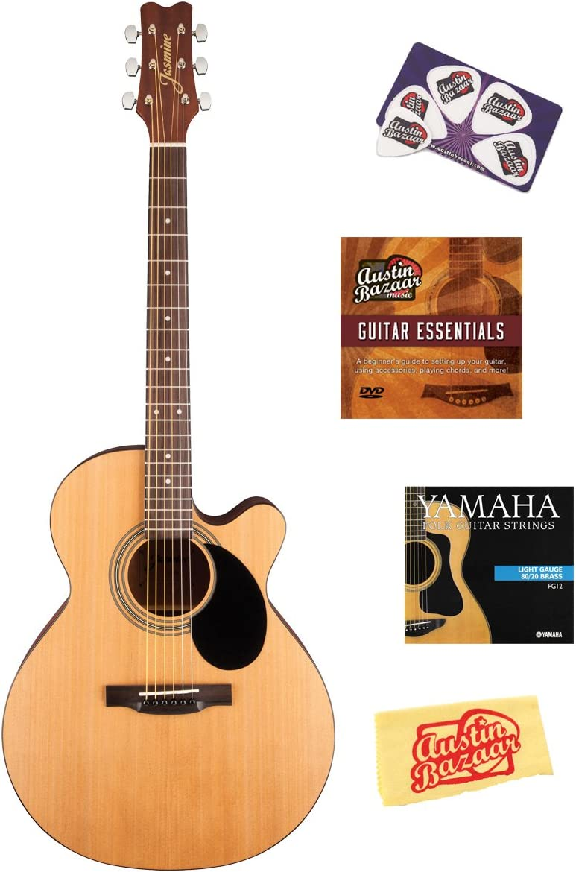 Jasmine S34C NEX Cutaway - Guitarra acústica con DVD (instrucciones (idioma español no garantizado), cuerdas, tarjeta de identificación y paño de pulido, color natural