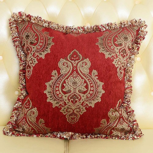 MeMoreCool European Palace Sofa Cushion Cover,Exquisite Jacquard Throw Pillow Cover with Fringe/Twisted Cord Edge Decor,Elegant Pillowcase