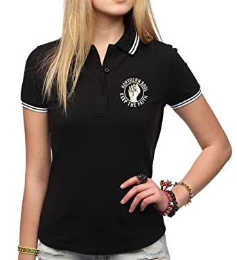 4f42334c Northern Soul Keep The Faith Embroidered Polo Shirt Women's Fit Fashion  Quality Heavyweight T-Shirt.: Amazon.co.uk: Clothing