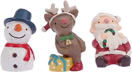NUOBESTY 3 piezas Mini Papá Noel Alce Muñeco de nieve Hada Jardín de Navidad Miniatura Adornos de Escritorio Manualidades Micro Paisaje Resina Decoración de Navidad para Dollhouse Dormitorio Hogar Salón: Amazon.es: Hogar