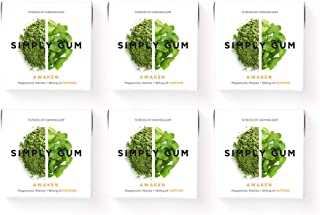 product image for Simply Gum | Natural Chewing Gum | Awaken (Caffeine + Peppermint + Matcha) | Pack of Six (90 Pieces Total) | Plastic Free, Aspartame Free, non GMO