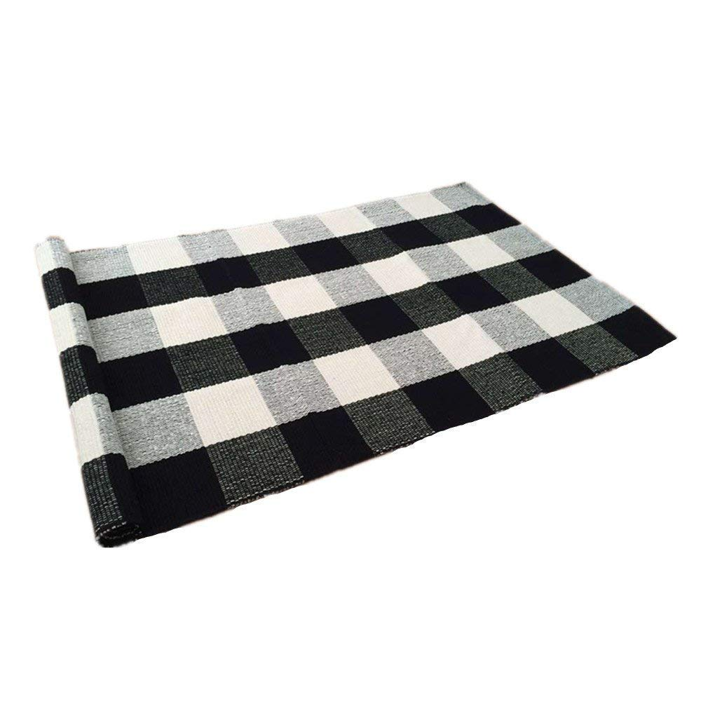 USTIDE 100% Cotton Plaid Rugs Black/White Checkered Plaid Rug Hand-Woven Buffalo Checkered Carpet Washable Porch Kitchen Rugs 24
