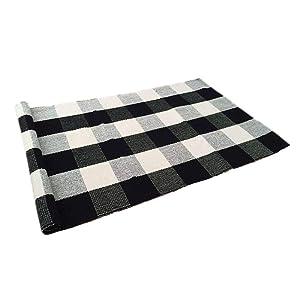 USTIDE 100% Cotton Plaid Rugs Black/White Checkered Plaid Rug Hand-Woven Buffalo Checkered Carpet Washable Porch Kitchen Rugs 24''x51''