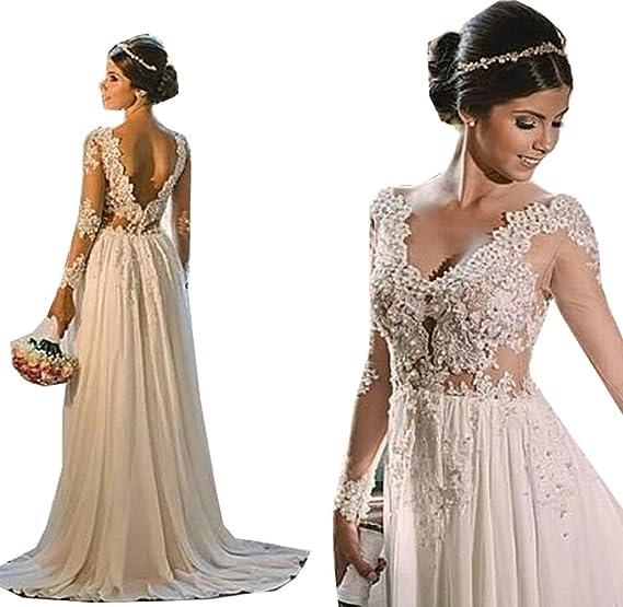 Womens Lace Long Sleeves Bridal Dress Chiffon Lace Beach Wedding