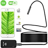 Wireless Endoscope, iBerry Rigid WiFi Borescope Inspection Camera 2.0 Megapixels HD Snake Camera with 6 Adjustable LED Lights for iPhone IOS and Android Smartphone, iPad (16.4FT)