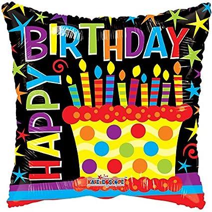Kaleidoscope Happy Birthday Cake Foil Mylar Balloon 18quot
