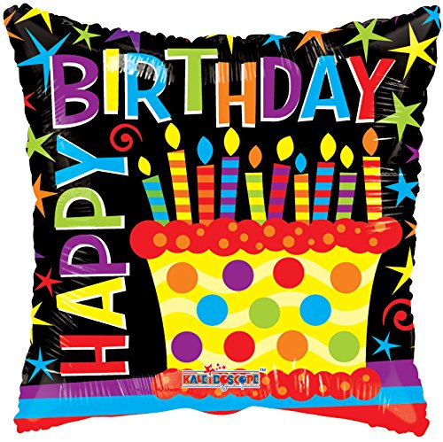 Kaleidoscope Happy Birthday Cake Foil Mylar Balloon , 18