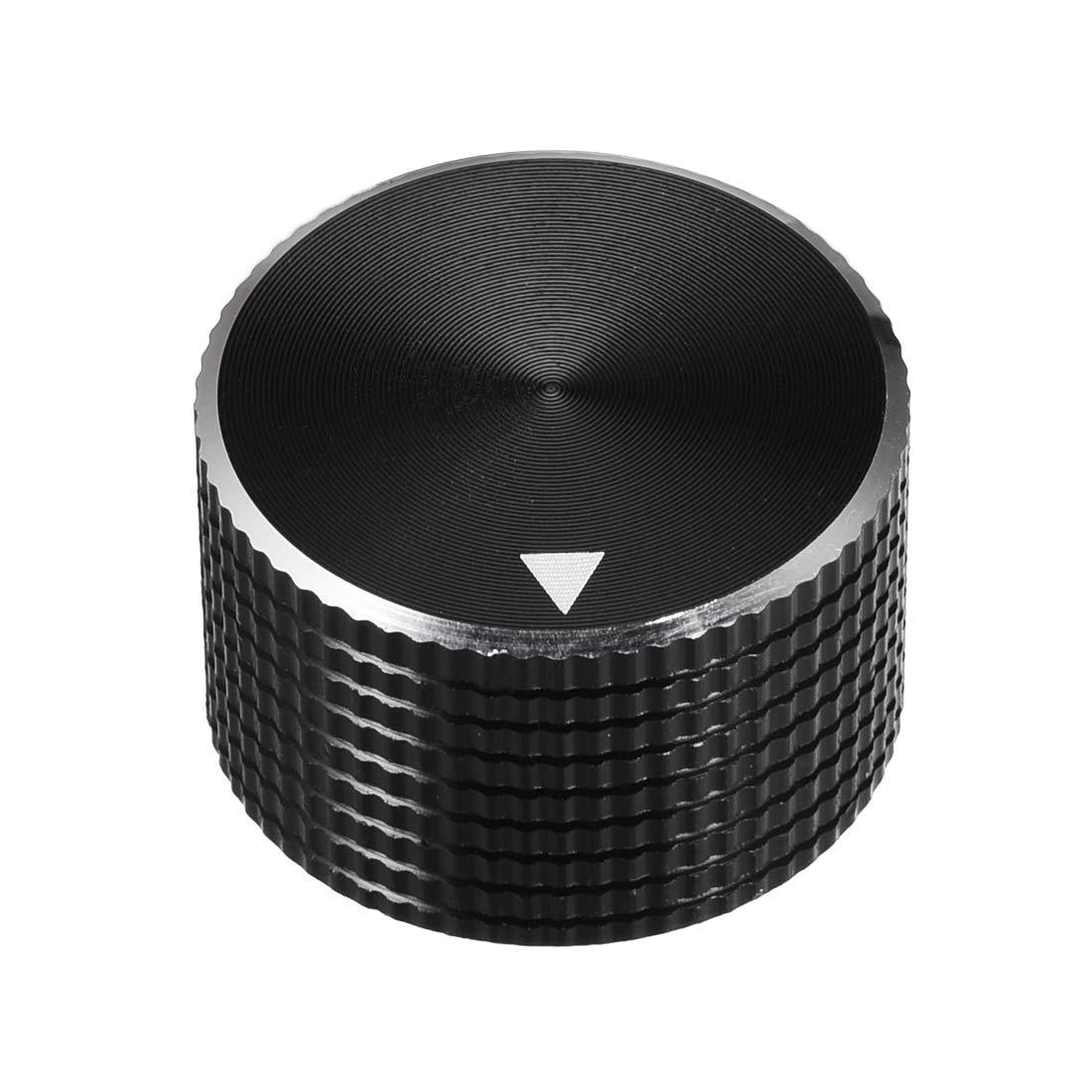 25 * 6 * 15.5 mm Aluminium Alloy Volume Control Knobs Black 2pcs uxcell/® Stereo Knob