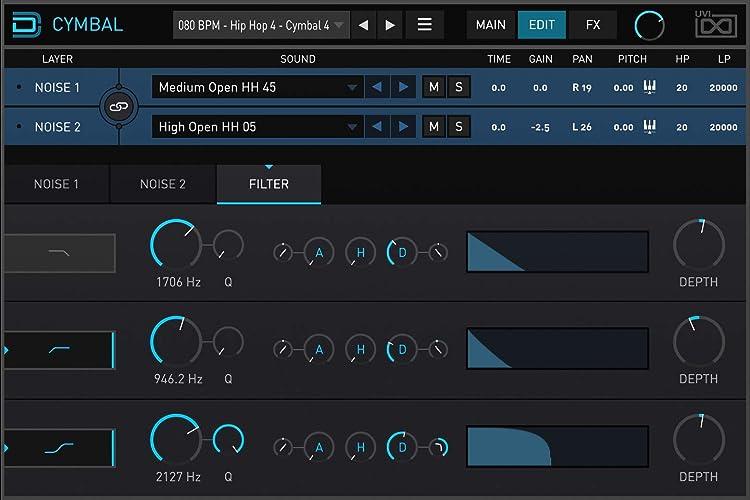 UVI Drum Designer:CYMBAL画面