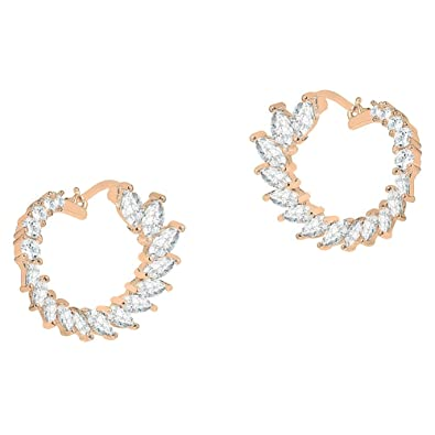 3f726f1c9 Cate & Chloe Adelyn 18k Rose Gold CZ Crystal Sideways Hoop Earrings, Crystal  Sideways Hoops