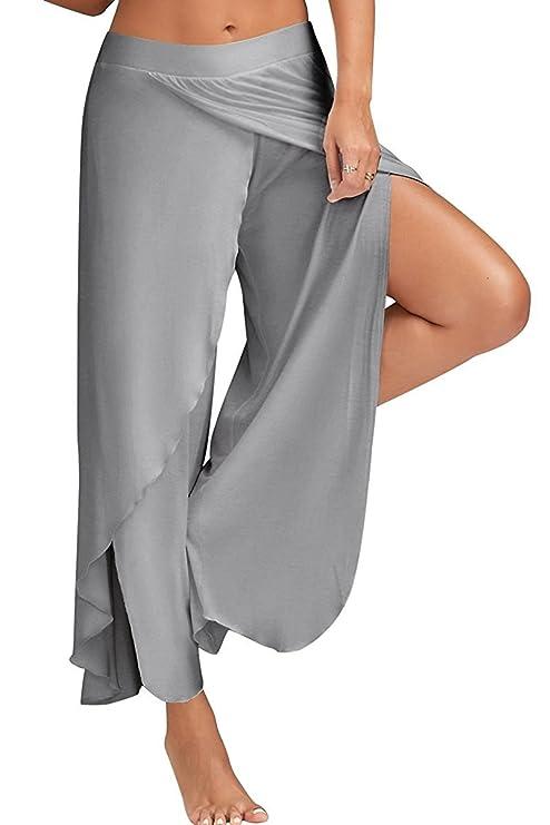 Boutiquefeel Pantalones Abertura Alta Estratificado Pierna Ancha Palazzo Yoga para Mujer: Amazon.es: Ropa y accesorios