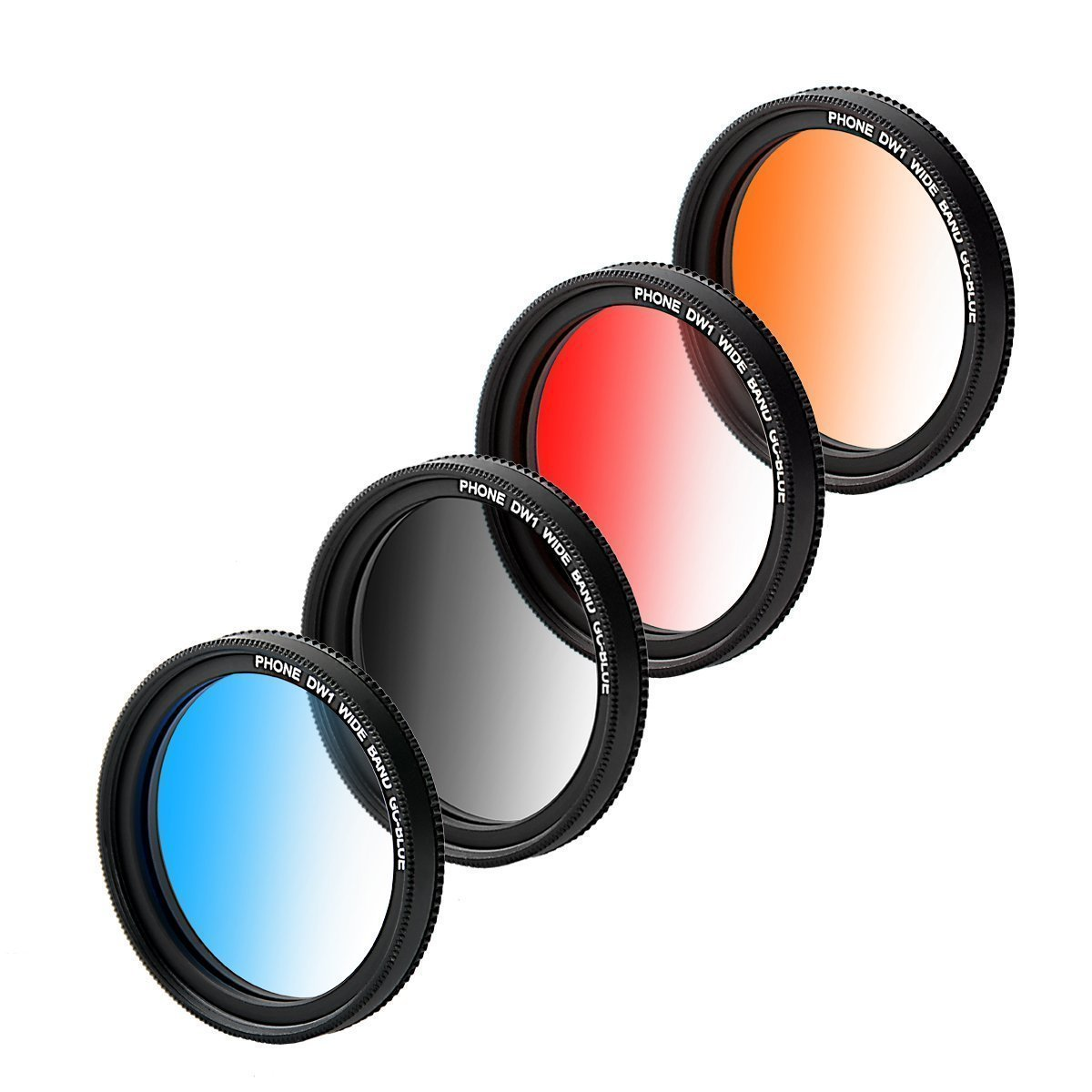 ZOMEI Graduated Lens Filter 37mm Professional 4 Pieces Camera Lens Filter Kit + WINGONEER LED light for iPhone 6S, 6S Plus, Samsung Galaxy, All Smartphones (Graduated Blue/Gray/Orange/Red) by ZoMei