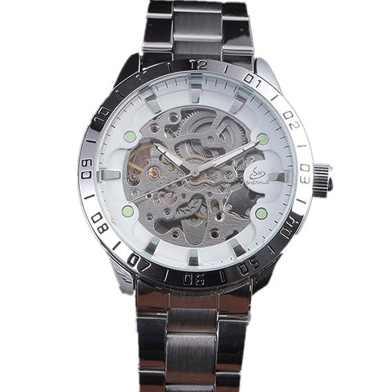 SHENHUA marca de lujo los hombres de negocios muñeca relojes automático reloj mecánico militar deporte esqueleto reloj de acero inoxidable reloj: Amazon.es: ...