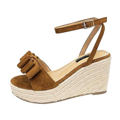 Sandalias de Punta Descubierta para Mujer Alpargatas Plataforma con Tiras Anchas Cruzadas de Ante Antelina Zapatos