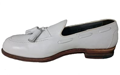 Vintage footjoy Classics Men's Dress Leather Tassel Loafer White (8 D)