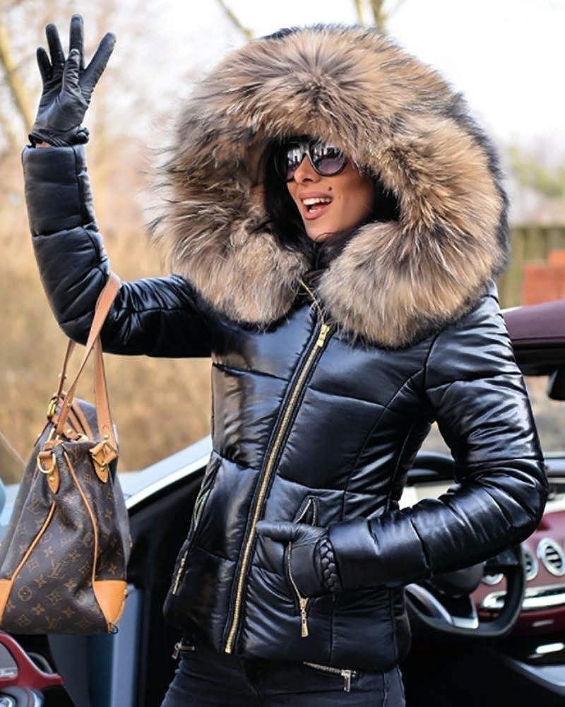 7756ced8f2409d Amazon.com: Aox Women Winter Fox Faux Fur Shiny Black Down Parka Hooded Slim  Jacket Coat TOP: Clothing