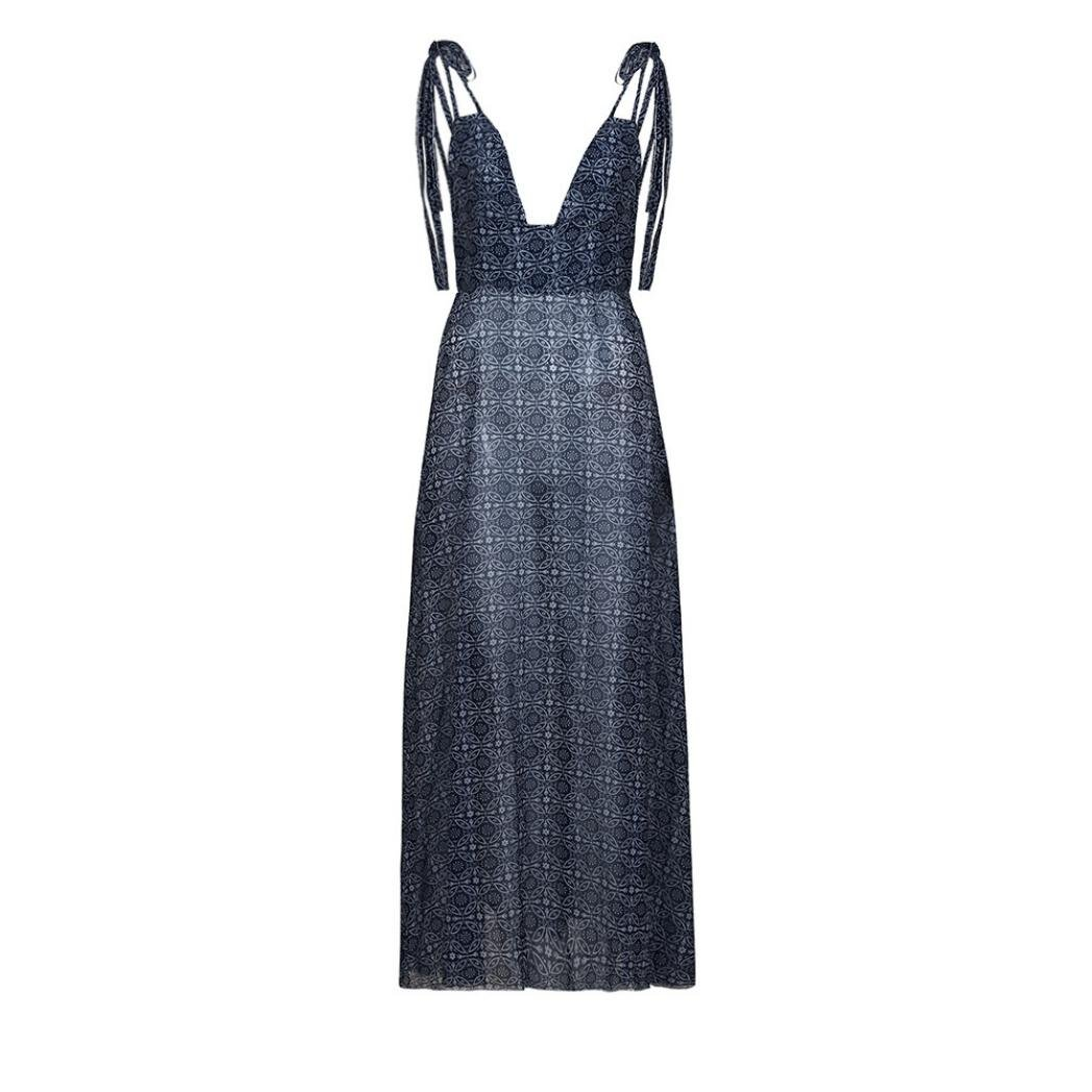GOVOW Womens Maxi Dress Boho Floral Printed Autumn Casual Tunic Long Maxi Dress