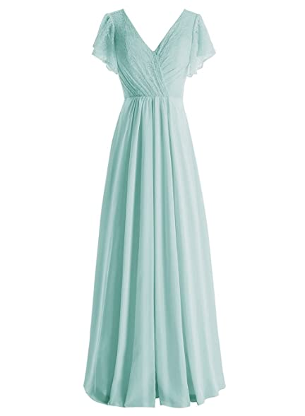 CutieTell Long Chiffon V-Neck Prom Dresses Lace Bodice Prom Gowns with Sheer Sleeves Aqua