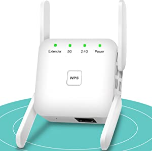 WiFi Extender, WiFi Booster, 1200Mbps WiFi Extenders Signal Booster for Home, 2.4G & 5GHz WiFi Booster and Signal Amplifier 360° Strong Signal WiFi Extender with Ethernet Port WPS Simple Setup (White)