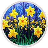 Pixels Round Beach Towel With Tassels featuring ''Daffodil Dance'' by John Nolan