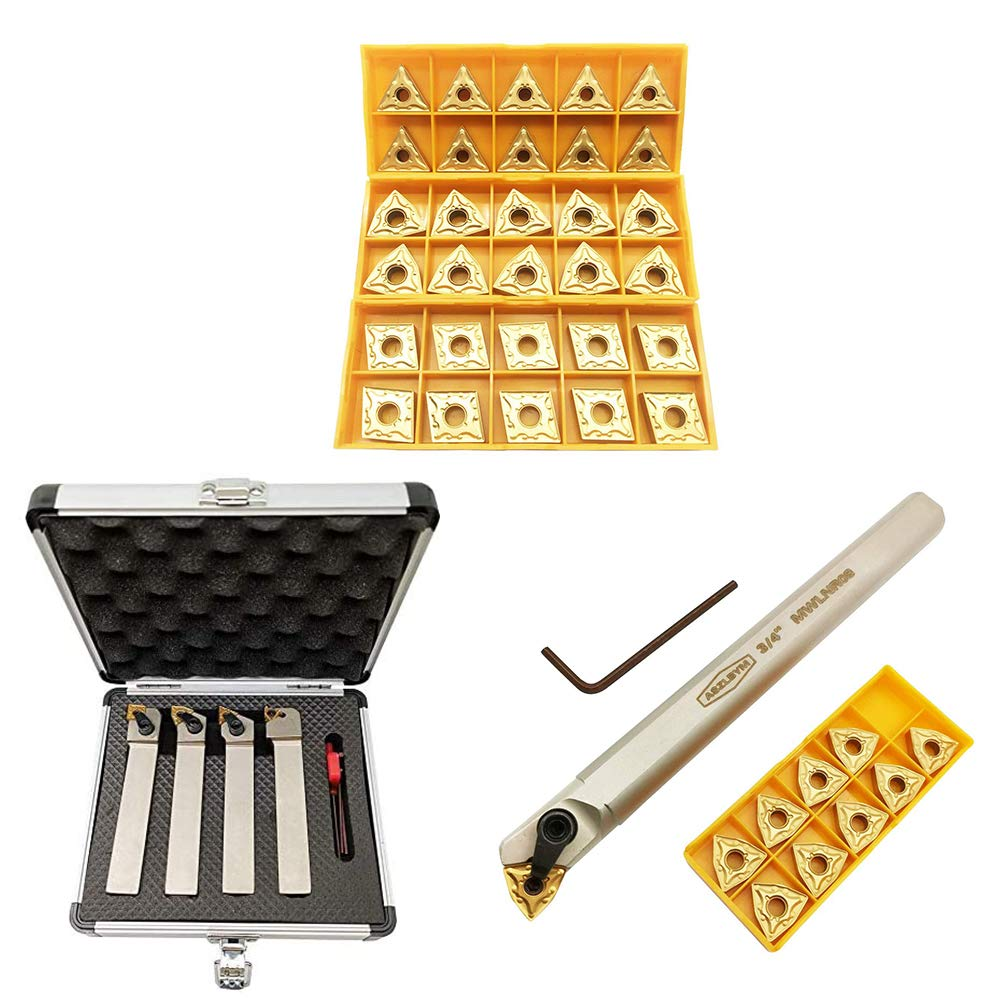 3//4 Metal Lathe Indexable Cutting Turning Tool Holder Set with Indexable Internal Boring Bar with 30pcs Carbide Turning Insert