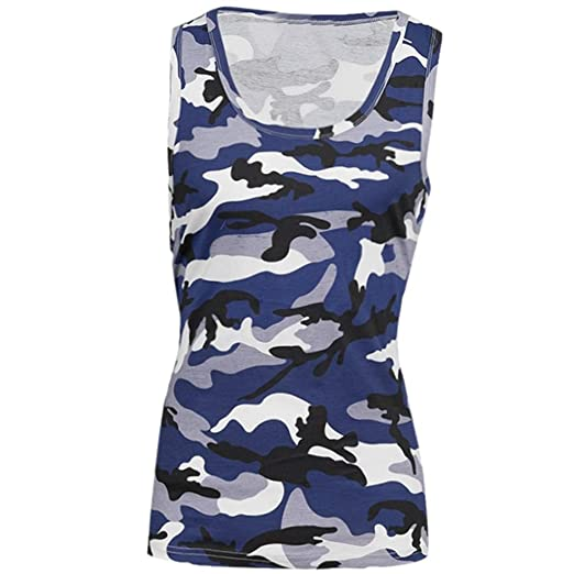 93b4e2aeffe7b Amazon.com: Womens Sport Tank Tops Camouflage Printed T Shirt Casual Round  Neck Tops Gym Yoga Running Outdoor Workout Blouse Amiley: Clothing